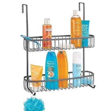 mDesign Estanterías de baño para colgar – Práctico colgador de ducha sin taladro – Estantes para