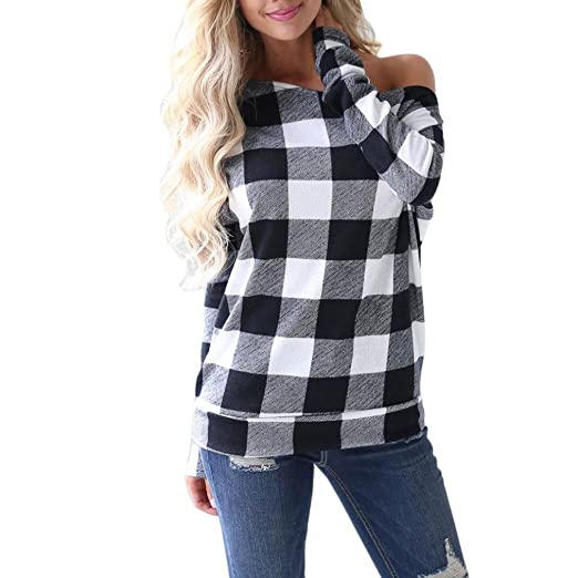 fb5db9d27df Amazon.com  Orangeskycn Women Pullover Cold Shoulder Slash Neck Plaid Long  Sleeve Sweatshirt Tops Blouse Shirt  Clothing
