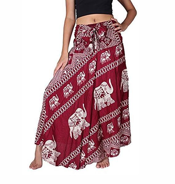 Vestido Bohemio de Mujer Falda Hippie Elefante Rojo con Estampado Floral Vestidos Largos