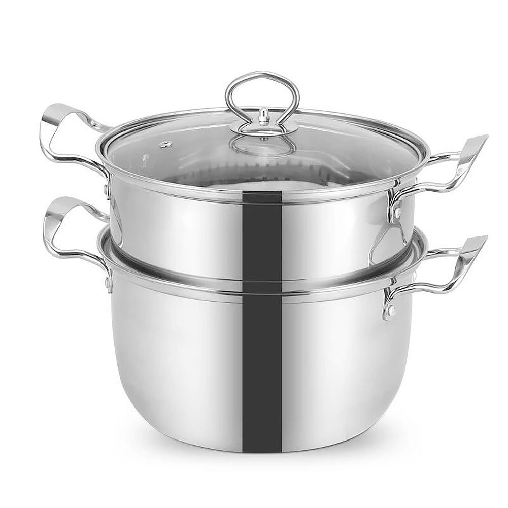 Vencer 10 Inch Contour Stainless Steel Stockpot Saucepot with Steamer set Cookware and Tempered Glass Lid, Triple Bottom Double Boiler,VSO-010