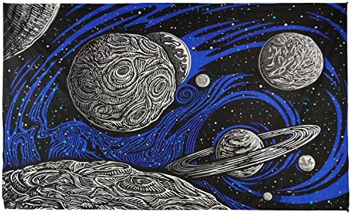 Sunshine Joy 3D Glow In The Dark Galactic Outer Space Planetary Psych Art Tapestry Wall Hanging Huge 60×90 Inches