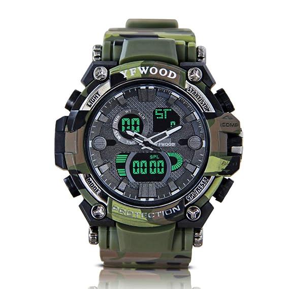 Reloj de pulsera para hombre, analógico, digital, deportivo, 30 m, impermeable