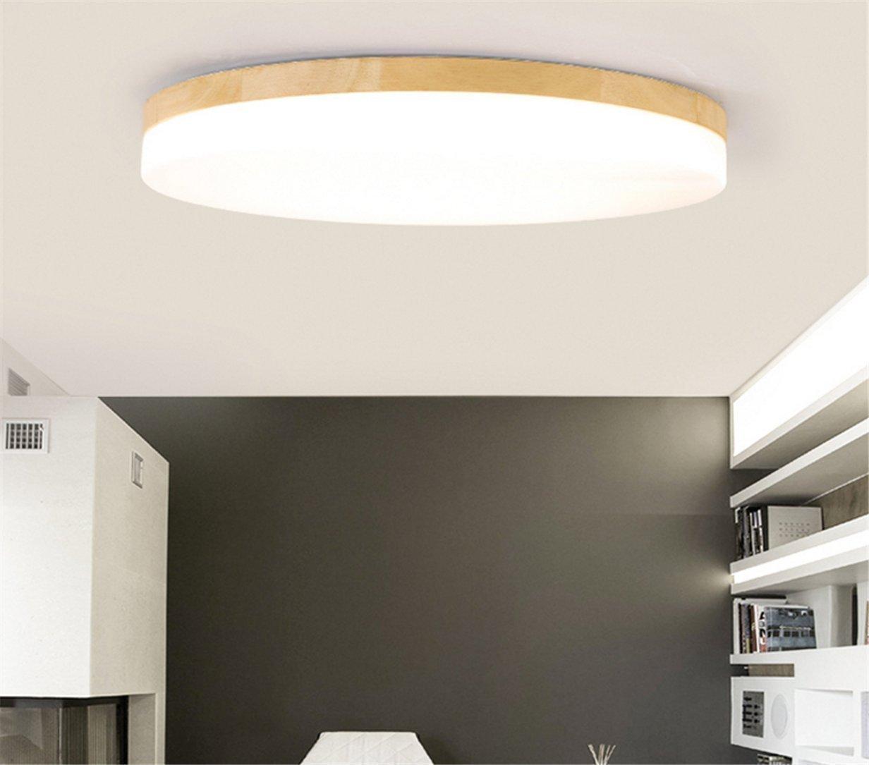 SJUN Deckenleuchte Holz Wohnzimmer Lampe Lampe Lampe Rund Flach Wohnzimmerlampe Holzlampe Eiche Deckenlampe Schlafzimmer Vintage Leuchte Decken Licht Mit LED Zimmerlampe (Farbe   Dimming, Größe   63CM 48W) 44ddec