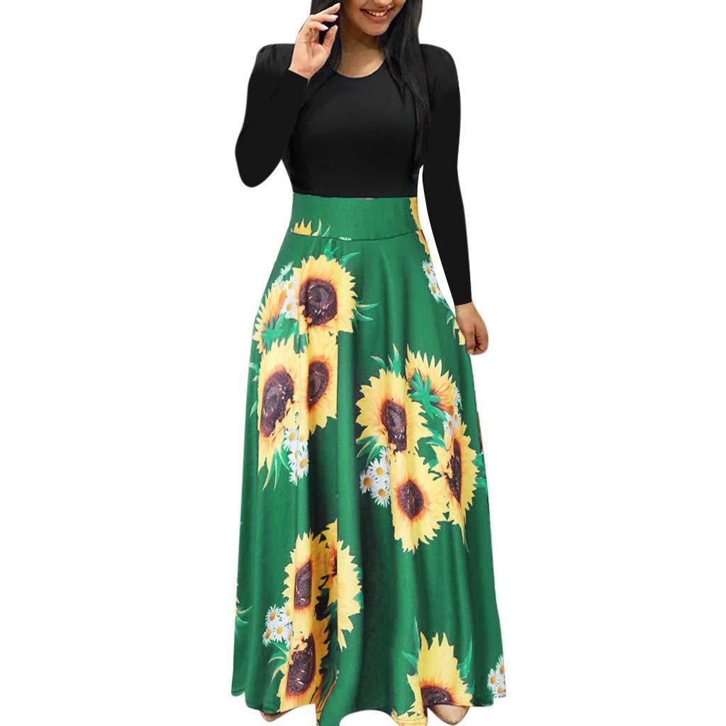 Elegante Freizeitkleider f/ür Damen,Frauen Herbst Langarm Maxi Kleid Sonnenblumendruck Sommerkleid Casual Gro/ße Sonnenblume Drucken Swing Kleider Blumenkleid