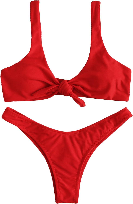 SweatyRocks Women's Sexy Bikini Swimsuit Plaid Print Tie Knot Front Thong Bottom Swimwear Set