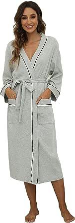 M&M Mymoon Womens Cotton Robe Soft Kimono Spa Knit Bathrobe Lightweight Long