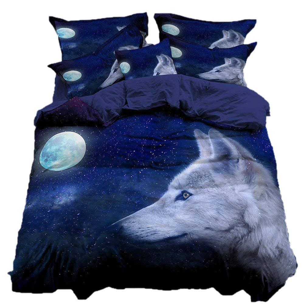 AHDA Bettwäsche, Tier (Wolf) 3-Teiliges Set Heimtextilien, Einschließlich Bettbezug  1, Kopfkissenbezug  2,C,DEDouble155cm220cm