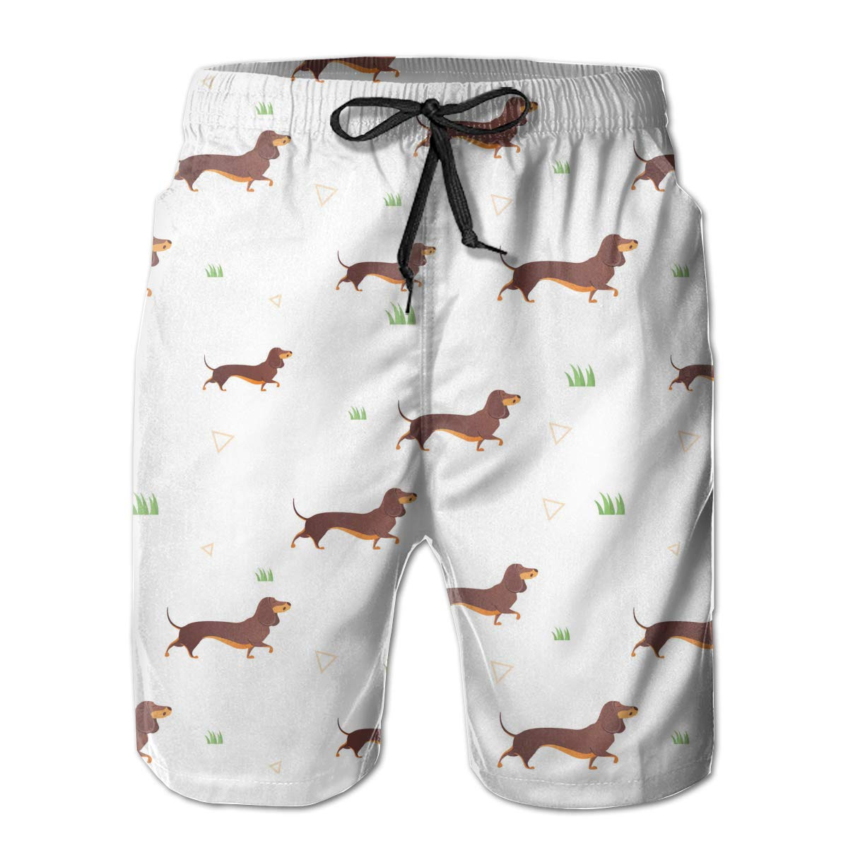 Fashion Swim Trunks Mens Board Shorts Red Dachshund Dos Vector Quick Dry Shorts