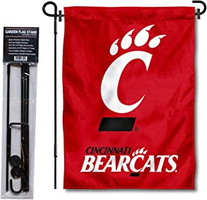 University of Cincinnati Bearcats Garden Flag and USA Flag Stand Pole Holder Set