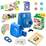 Fujifilm Instax Mini 9 Instant Camera – COBALT BLUE + Fuji INSTAX Film (20 Exposures) + Multifarious Instax Accessory Kit BUNDLE Includes; Case/Strap & Album + Fun Frames/Stickers/Lenses + MORE