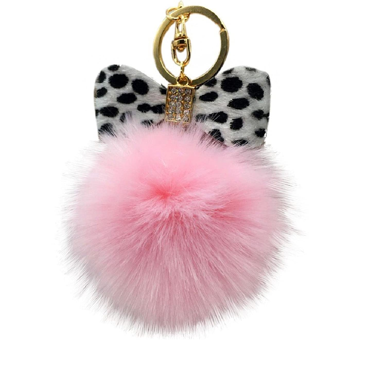 Egmy Leopard Bow Fluffy Faux Rabbit Fur Ball Bowknot Charm Car Keychain Handbag Key Ring (Pink)