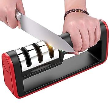Dohomai - Afilador de cuchillos de cocina, herramienta manual de afilar cuchillos de 3 etapas, con barras antideslizantes, barra de gérama, barra de ...