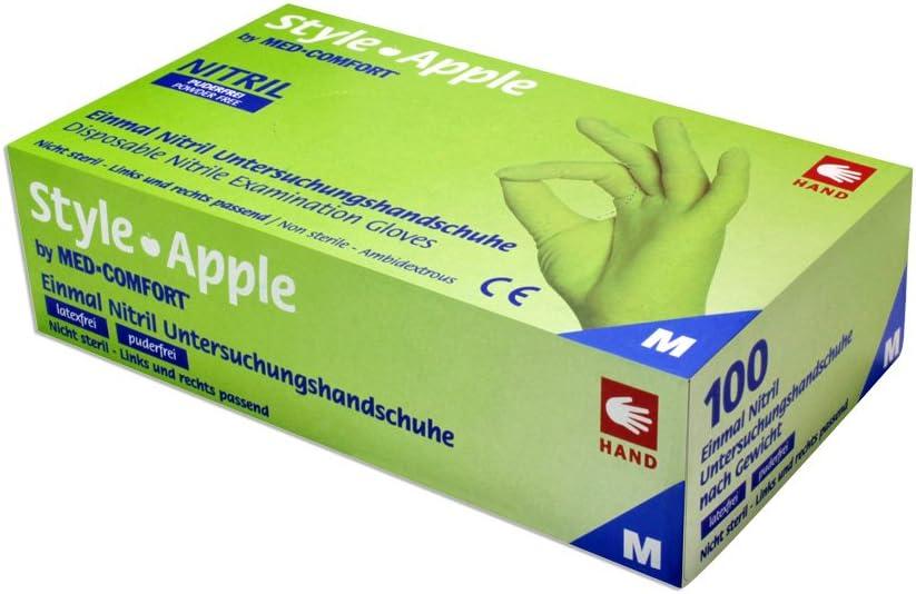 S Style Apple by MED-COMFORT Apfelgr/üne Nitrilhandschuhe puderfrei 100 St/ück Gr/ö/ße W/ählbar