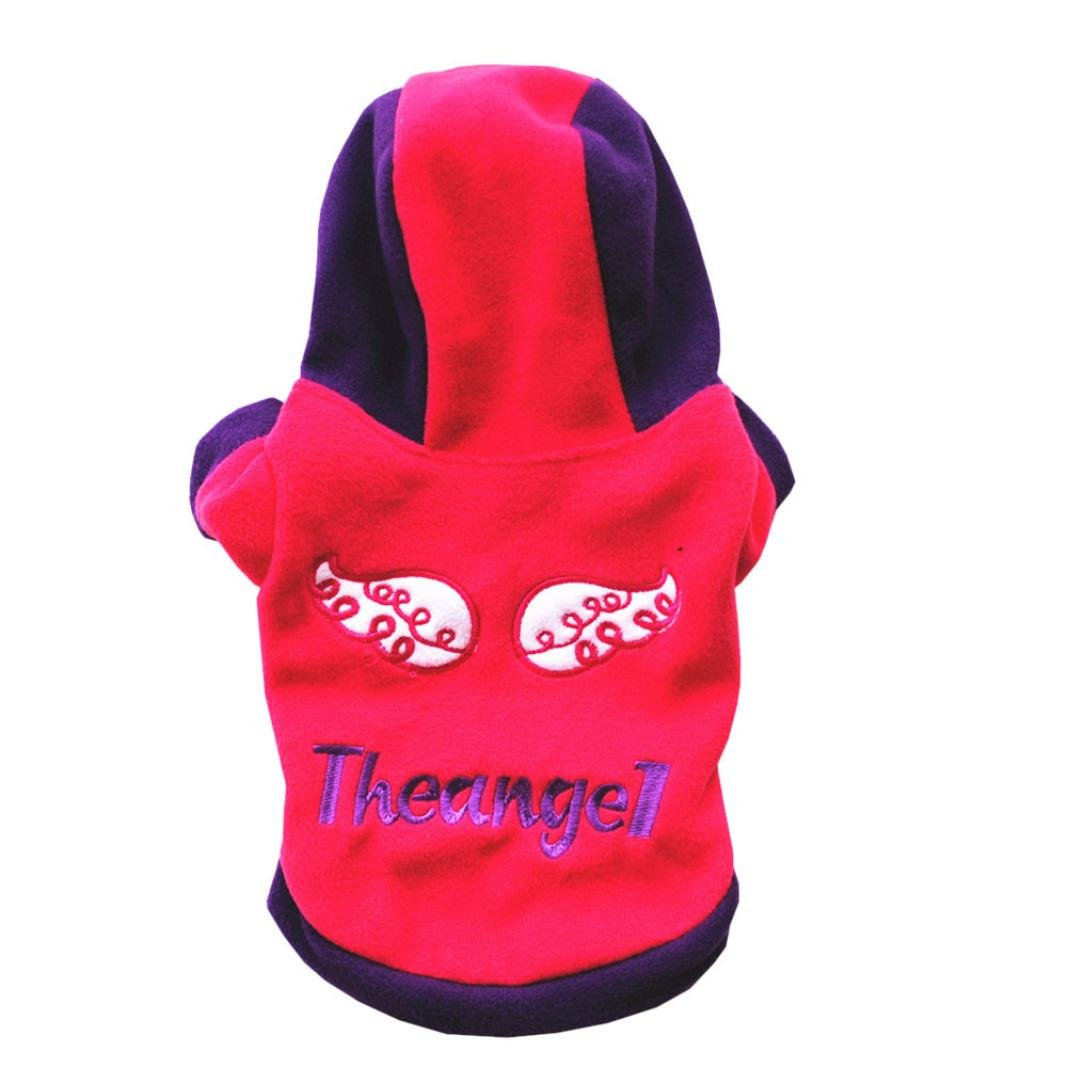 Clearance! Pet Hooded, Letter Print Casual Pets Dog Jumpsuit Clothes Puppy Doggie Coat Jacket Clothing Apparel (XS, Red)
