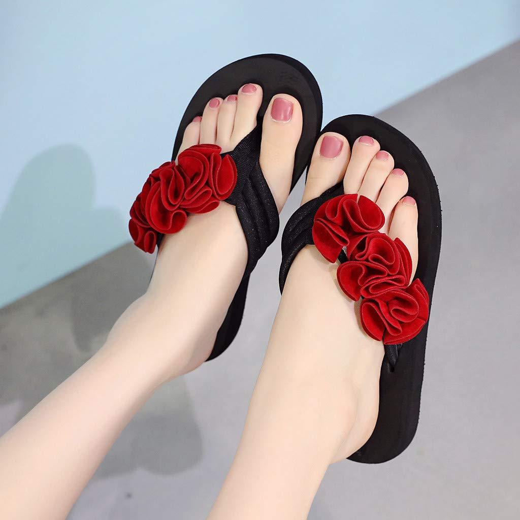 Frunalte Women Casual Shoes Summer Fashion Women's Flower Clip Toe Flip Flops Non-Slip Wedges Beach Slippers Red by Frunalte shoes (Image #2)