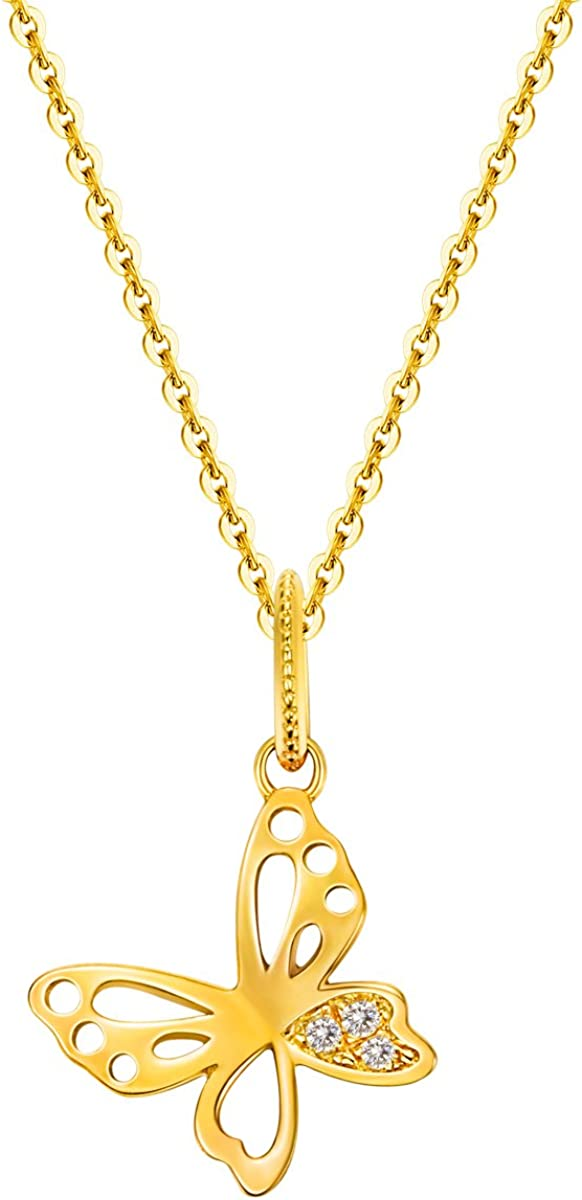 14K Yellow Gold Charm Pendant Cubic Zirconia CZ ChildrenS Butterfly