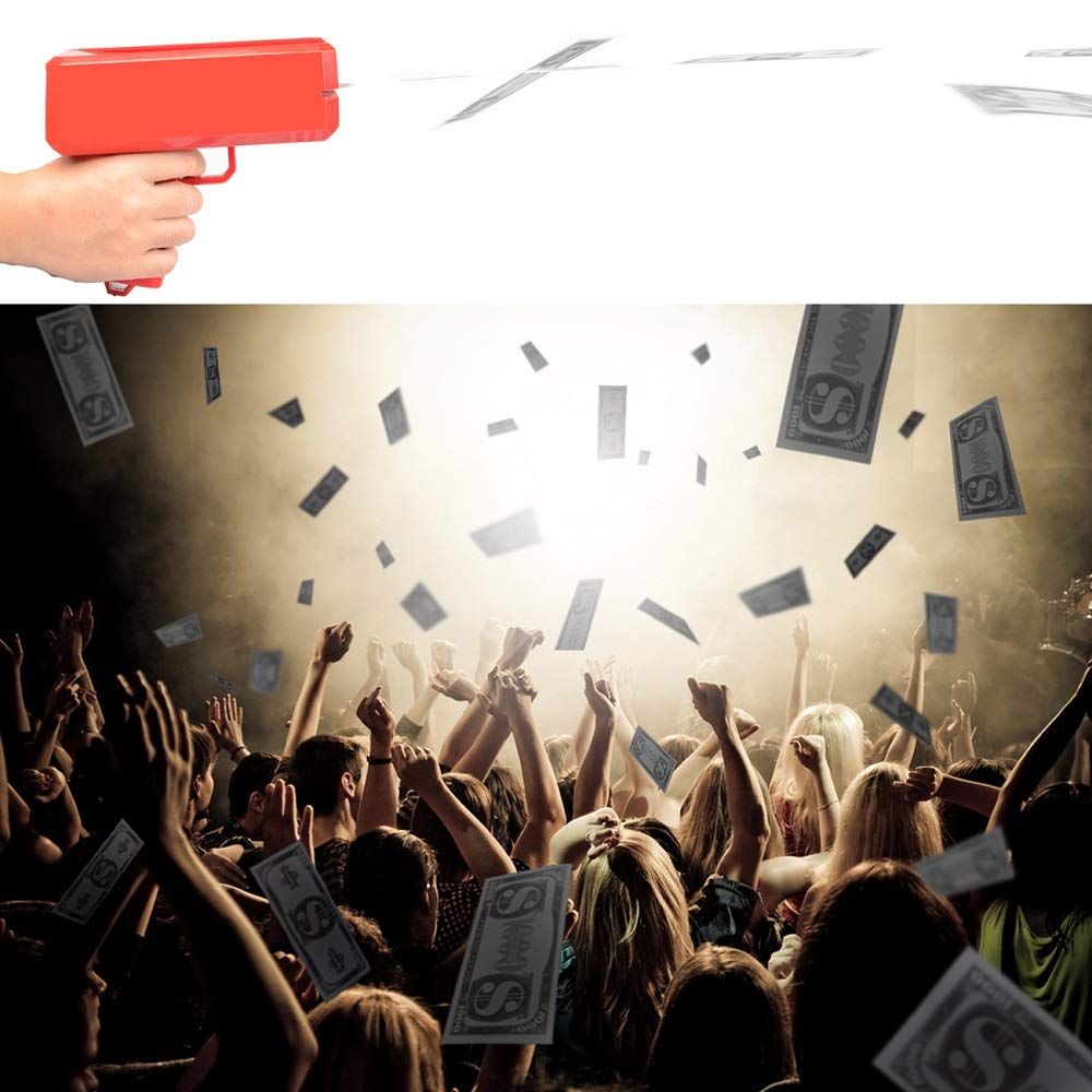 Kevide Interesting Party Game Props-Money Gun Super Gun Cash Gun Red Money Gun Make it rain(300 Prop Money) by Kevide (Image #3)