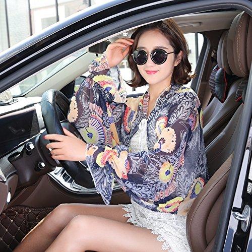 Family Name Electric car Sunscreen Shawl Miss xia ji car Sun Shade Cycling Clothing ICY Long Sleeve (Dandelion Sapphire Blue]()