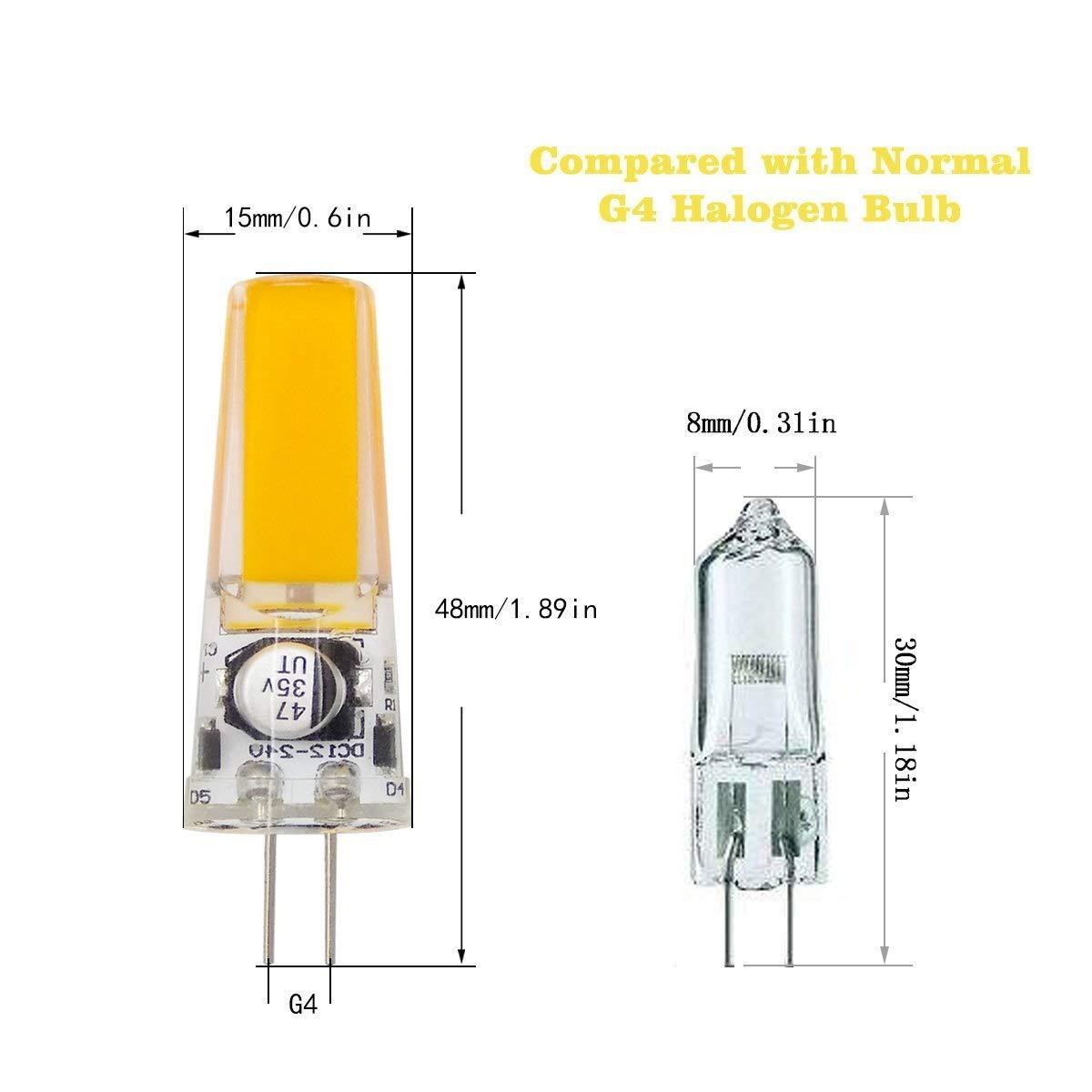 Dig dog bone LED Bulbs G4 LED Bulb Bin-pin Light Bulb COB 3W G4 Bulb Instead of Halogen Bulb 25W 340 Lumens DC//AC 12-24V Color : White Daylight Comfortable Glow 10 Pack