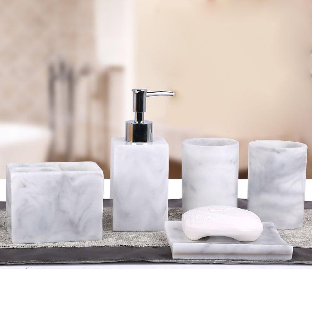 Amazon.com: 5pcs Bathroom Accessory Set - Tumbler, Soap Dish, Liquid ...