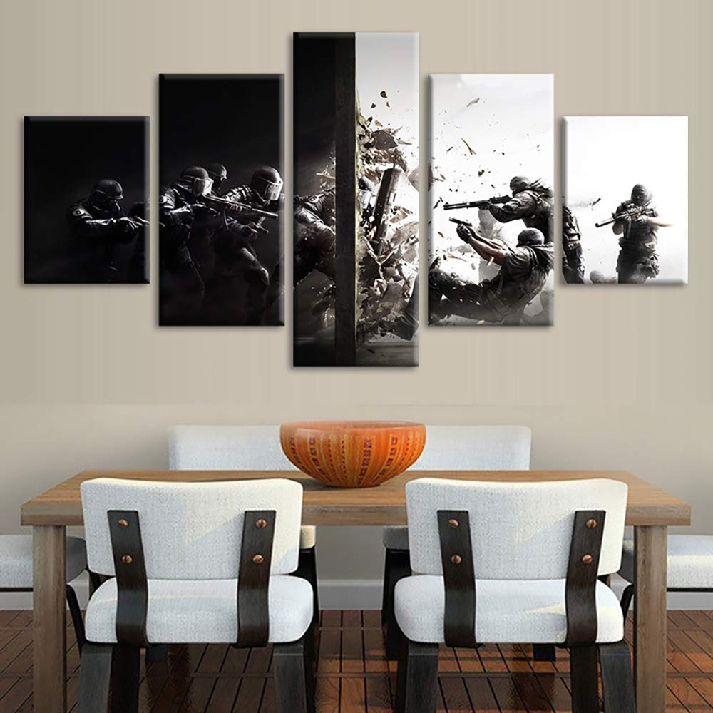 YFJL Wall Art Frame Painting 5 Piece Tom Clancy's Rainbow Six Siege Game/Guitar Master Stevie Ray Vaughan Prints On Canvas Pictures Decor for Living Room,D,30502+30702+30801 by YFJL