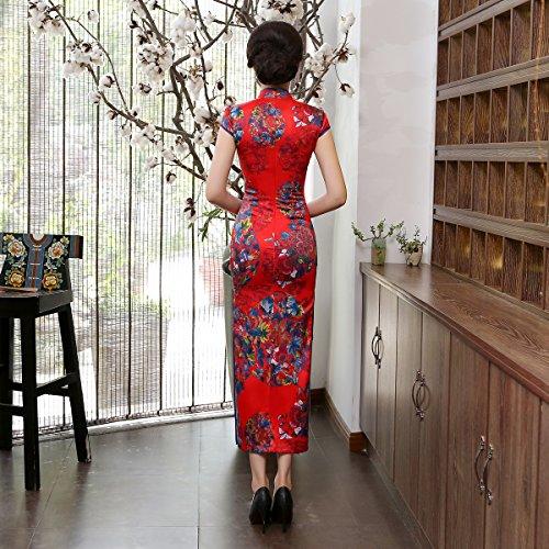 Bankettkleid Langer Vintage 2 Chinesische Kurzarm Damen Partykleid ACVIP Cheongsam Rot RwYxq
