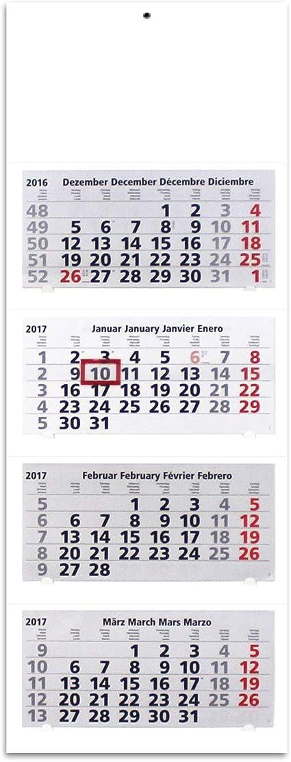 Calendario con visualización de 4 meses, de pared, XL 2017, en blanco, se puede personalizar, mes de un vistazo, 33 x 90 cm: Amazon.es: Coche y moto