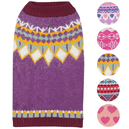 Blueberry Pet 7 Patterns Icelandic Lopi Feather Yarn Pullover Dog Sweater in Light Plum, Back Length 14