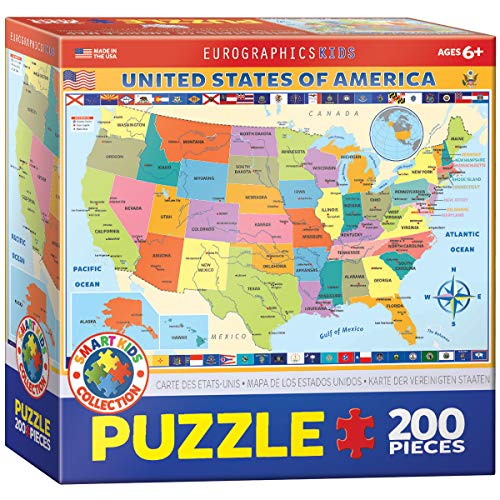 EuroGraphics Map of the United States of America Jigsaw Puzzle (200-Piece) -