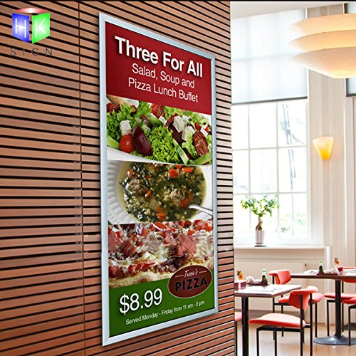 - Silver Aluminum Profile Movie Poster Frame 27 x 40 Inches, Front Loading Snap Display, Wall Mount led light box sign