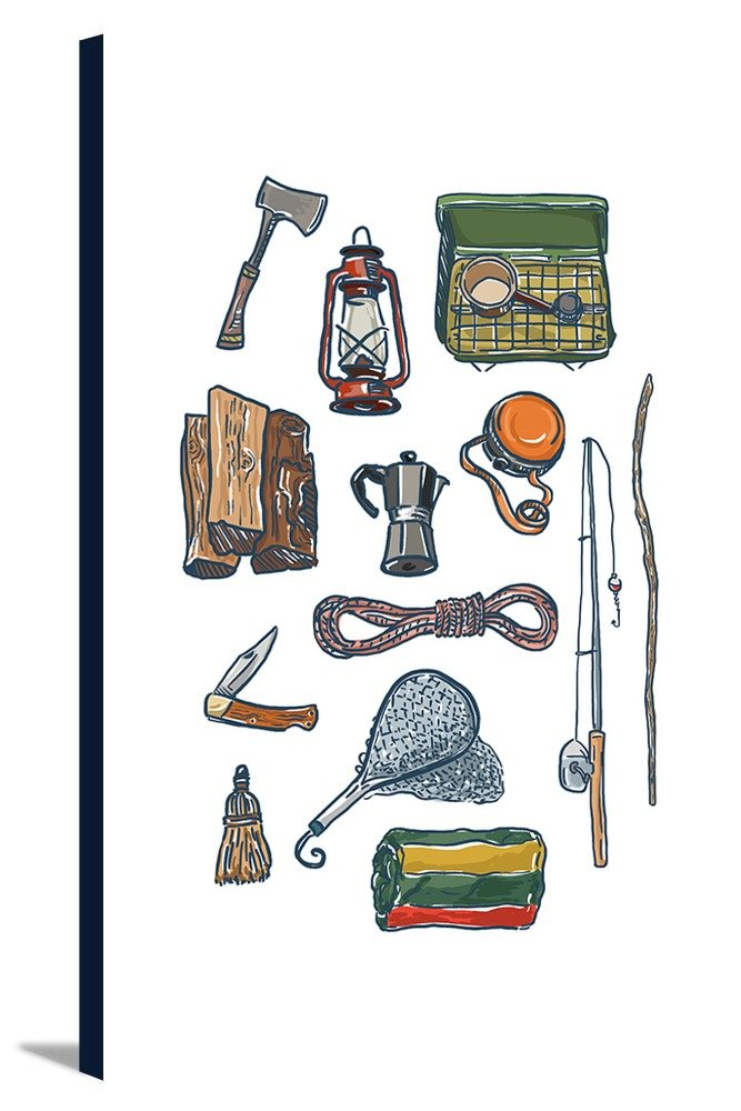 Camping Gear – アイコン 16 x 24 Gallery Canvas LANT-3P-SC-77918-16x24 16 x 24 Gallery Canvas  B01MUD92X8