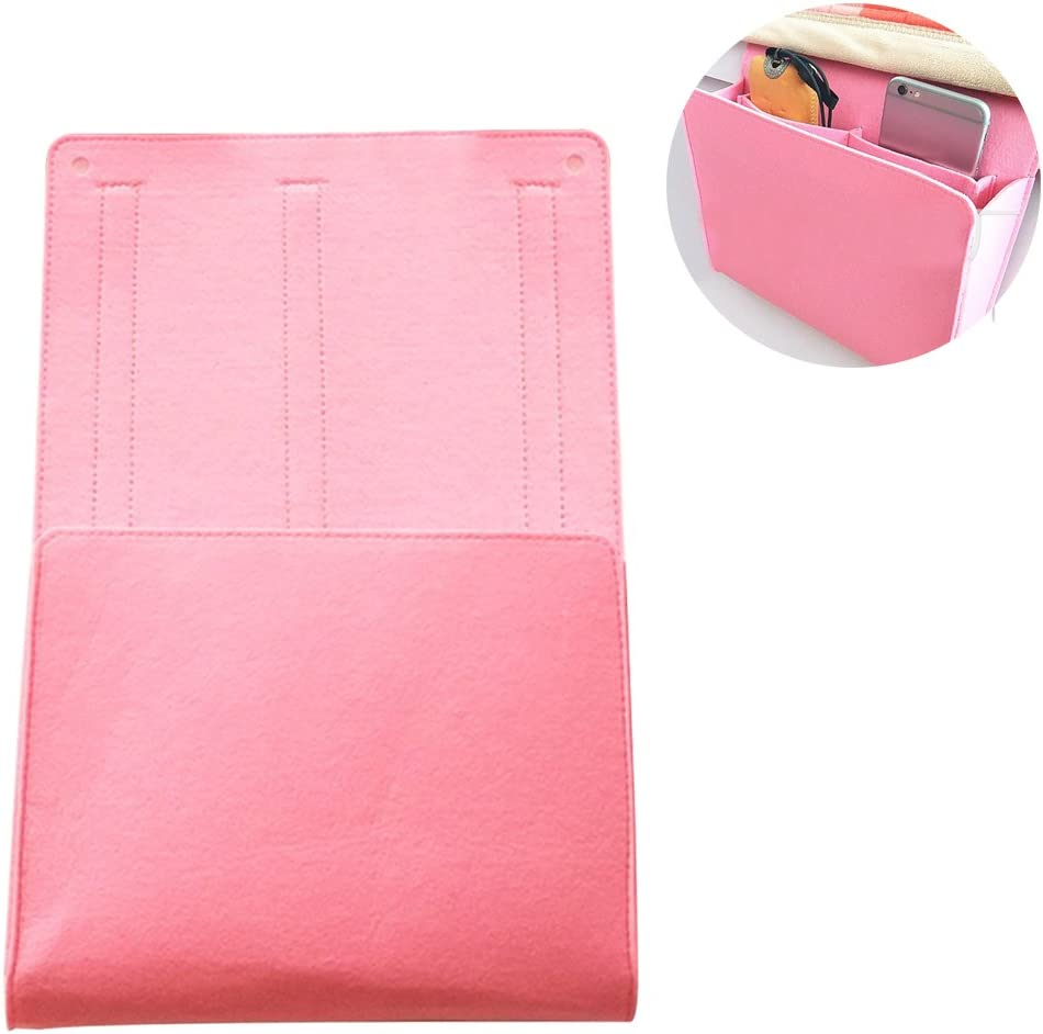 Per Felt Bedside Caddy Nursery Diaper Hanging Organizer Multifunctional Storage Bags for Baby Crib Cradle Infanette Adult Bed-Pink,S