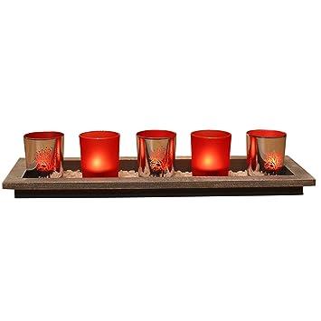Amazon De Teelichthalter Set Auf Holz Tablett Mit 5 Windlichtern