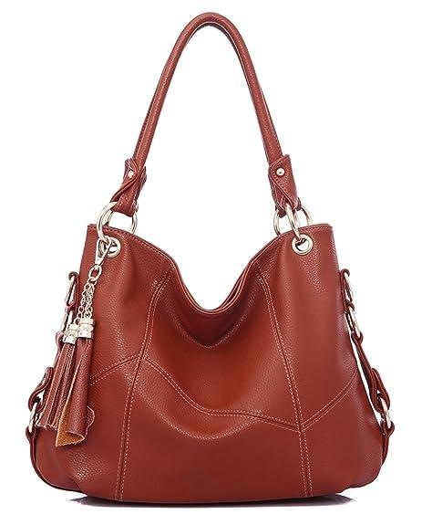 eb6e9ebd722b9 Amazon.com: Dreubea Womens Soft Leather Hobo Handbag Large Size Tote  Shoulder Crossbody Bag Brown: Shoes