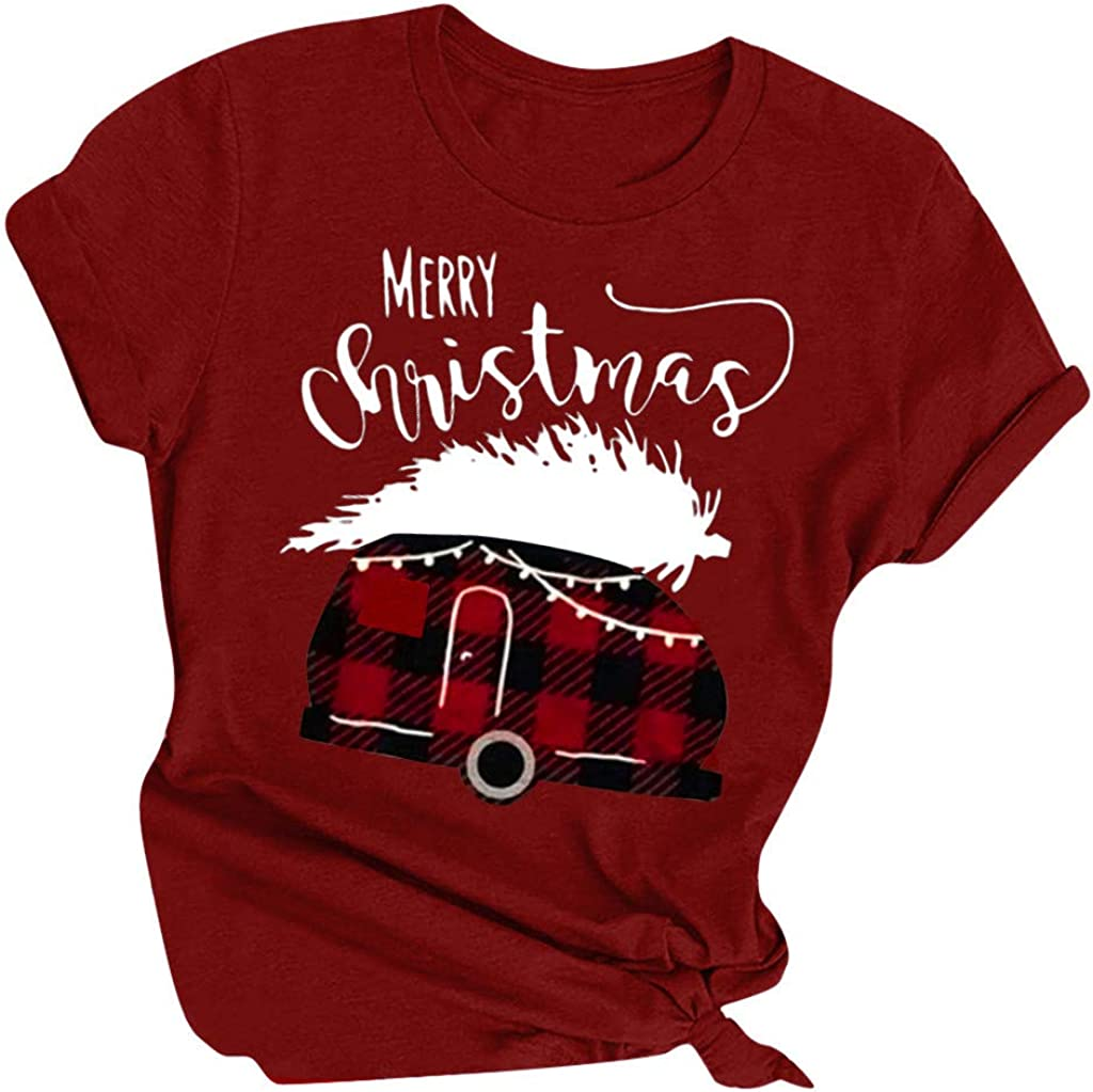 chengzhijianzhu Christmas T Shirts for Women Merry Xmas Car Print Graphic Funny Tee Shirt Season Gift Tops Blouses