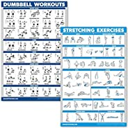 (46cm x 70cm , LAMINATED) - QuickFit Dumbbell Workouts and Stretching Exercise Poster Set - Laminated 2 Chart