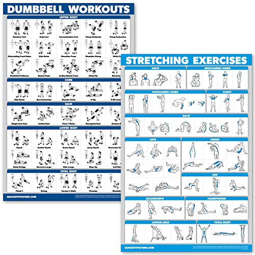 QuickFit Dumbbell Workouts and Stretching Exercise Poster Set - Laminated 2 Chart Set - Dumbbell Exercise Routine & Stretching Workouts (18