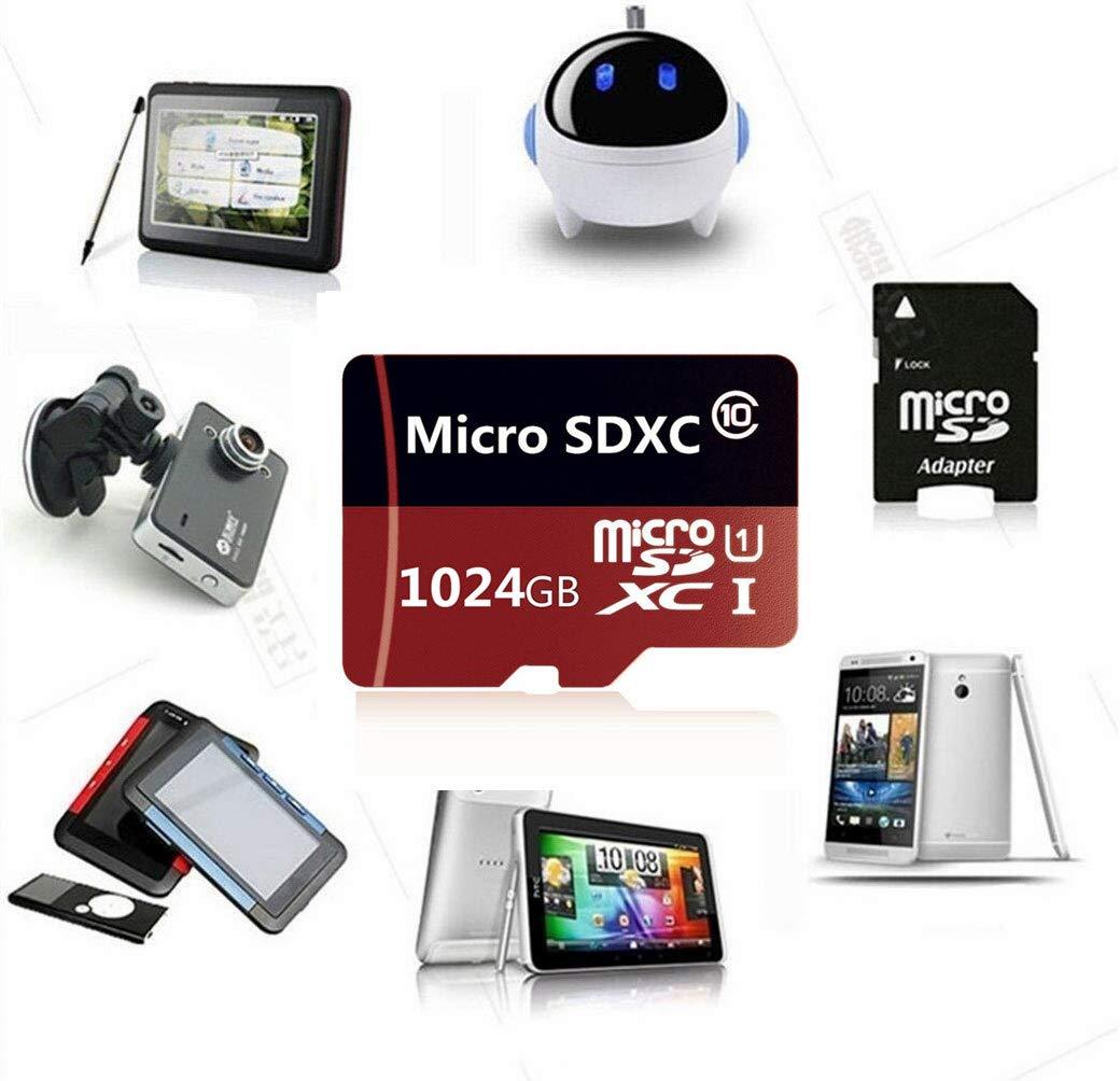 Carte m/émoire Micro SD Haute Vitesse Classe 10 1024 Go avec Adaptateur Gratuit