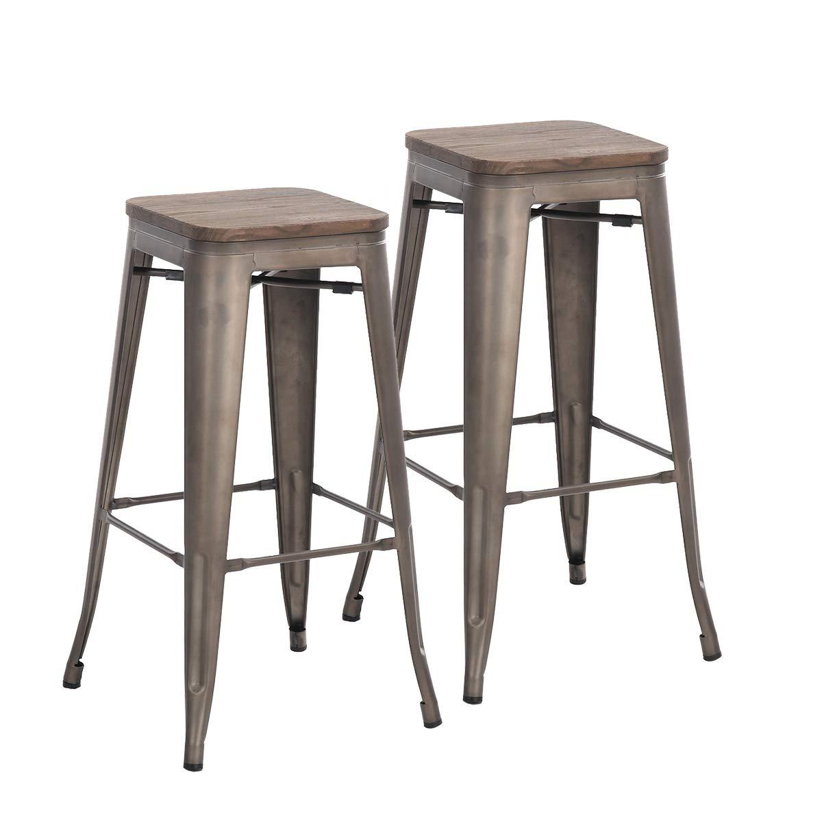 Amazoncom Buschman Set Of 2 Bronze Wooden Seat 30 Inch Bar Height