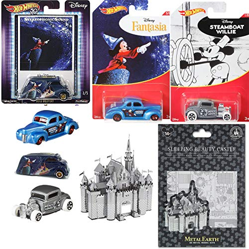 Pop Castle Disney Ford Hot Wheels Steamboat Mickey Exclusive Hot Rod + Coupe & Fantasia Culture Mouse Movie Poster Card Art + Metal Model Parks (Ford Club Coupe)