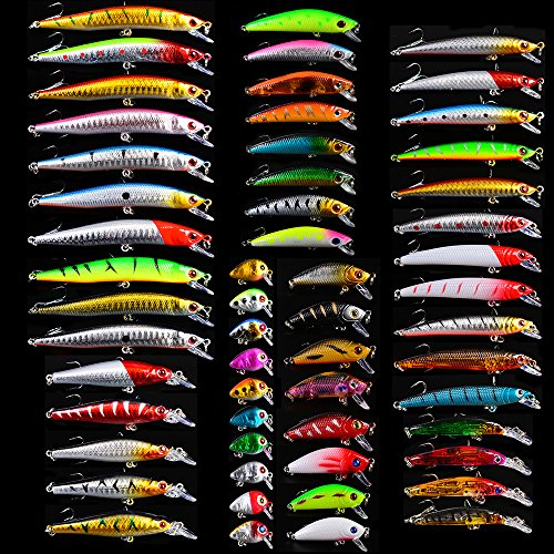 Bass Fishing Lures Kit Set Topwater Hard Baits Minnow Crankbait Pencil VIB Swimbait for Bass Pike Fit Saltwater and Freshwater (560-56pcs)