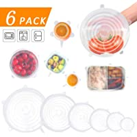 Silicone Stretch Lids, 6 Pack Reusable Seal Lids to Keep Food Fresh, Fit Various Sizes and Shapes of Containers Food Covers or Bowl Covers 6 Sizes