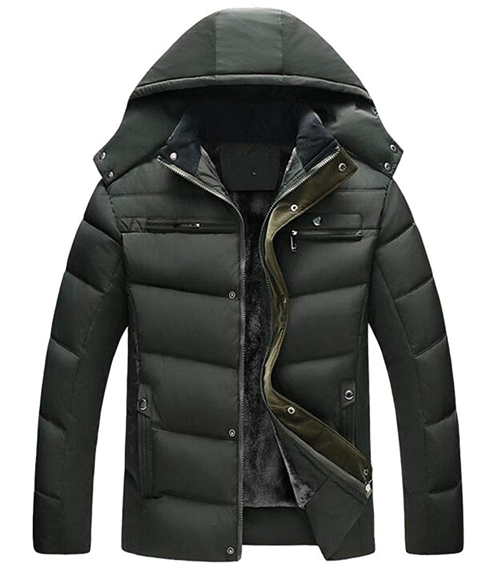 Joe Wenko Mens Winter Thicken Hooded Padded Puffer Zip Parka Jacket Coat