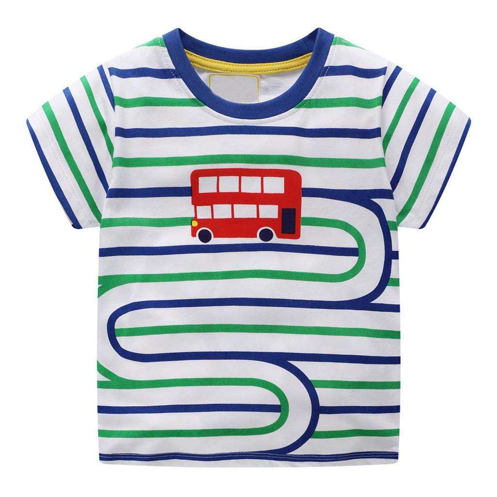 Dirance Toddle Unisex Child Green Blue Striped Cartoon Round Neck Printed Clothes Cotton T-Shirt Short Sleeve Top