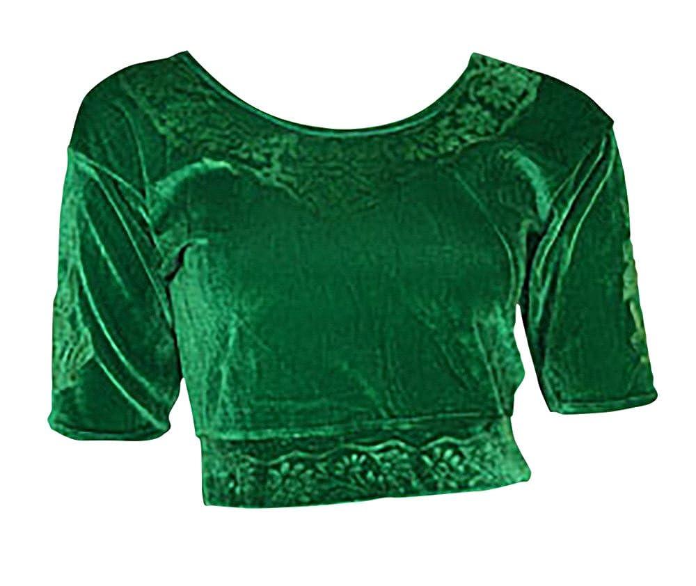 Grün Choli (Sari Oberteil) Samt Gr. 48 Gr. XXL ideal für Bauchtanz Choli Bluse Grün XXL