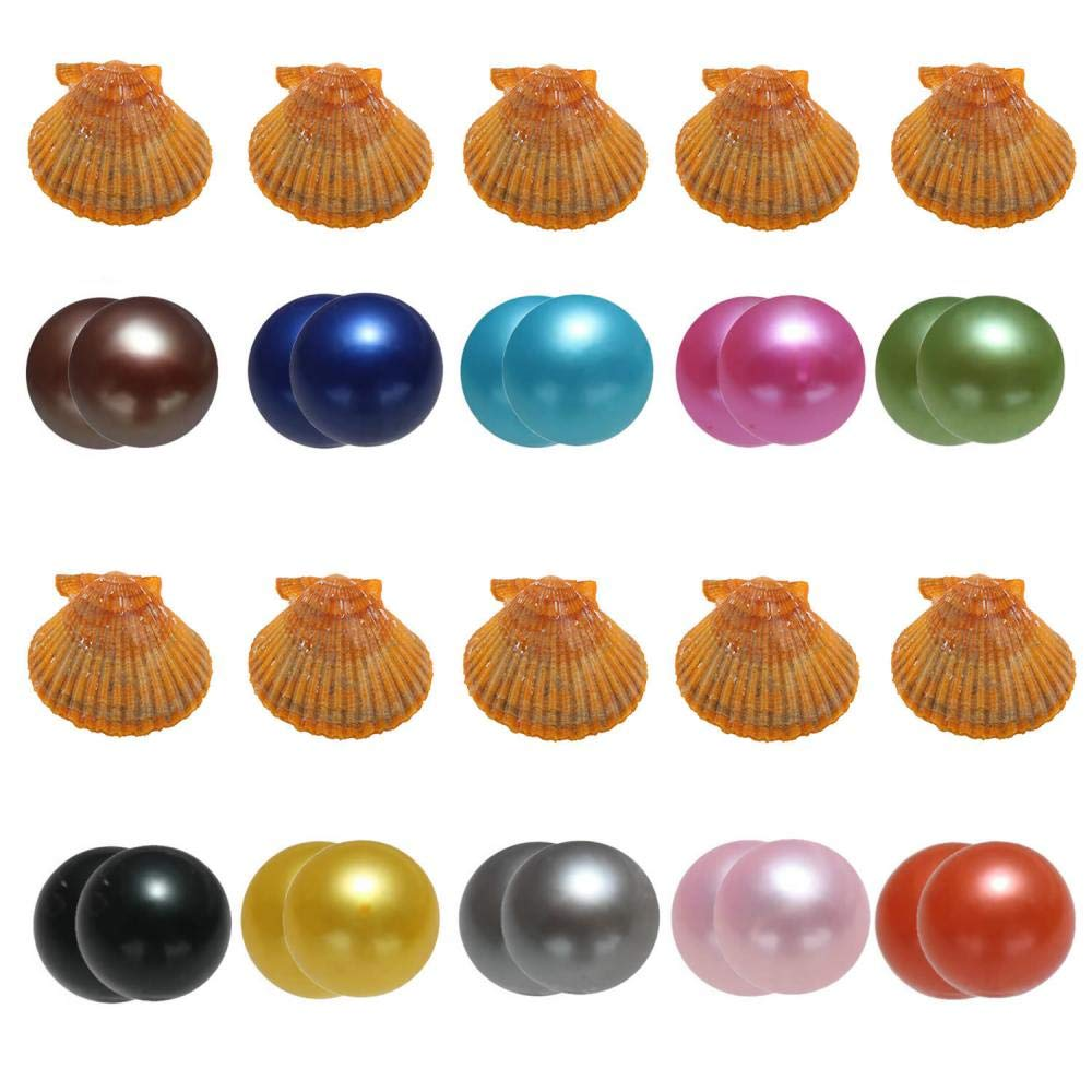 Akoya Oysters with Twin Pearls Inside, 10PC Saltwater Cultured Love Wish Round Red Oyster with 20 Pearls Mixed Color (7-8mm)