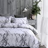 Meeting Story Duvet Cover Set With Zipper Closure Natural Marble Pattern Printed (004, Queen (1 duvet cover + 2 shams))