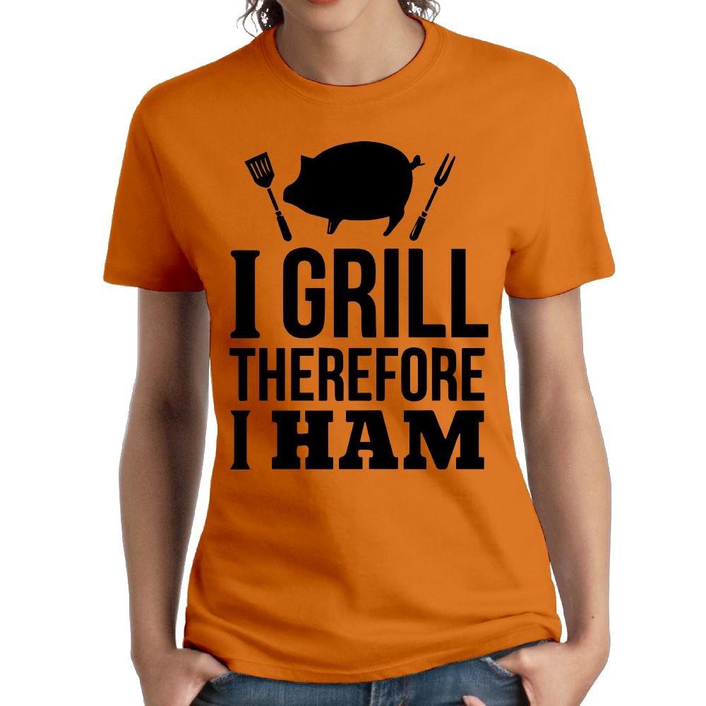 Wxf Womens I Grill Therefore I Ham Fashion Tshirts Orange