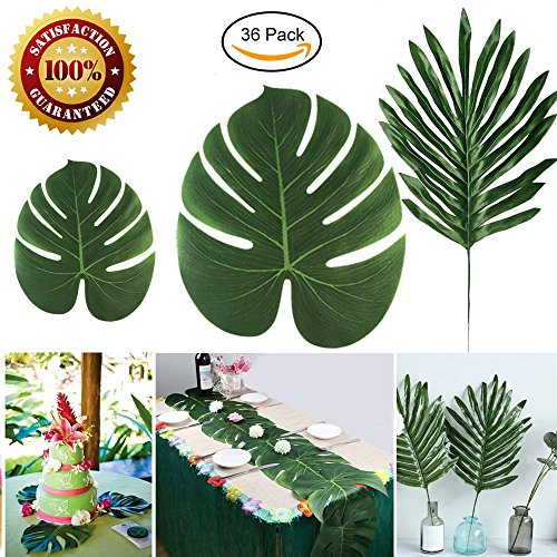 Longloving 36 Pcs 2 kinds Artificial Palm Leaves Tropical Monstera Simulation Leaves for Hawaiian Luau Party supplies,Aloha Jungle Beach Theme Birthday TIKI Safari Party Table Decorations by Longloving