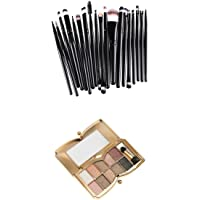 MagiDeal Lot 21Pcs Makeup Brushes + Pro 10 Colors Makeup Diamond Shimmer Eyeshadow Palette Matte Natural Nude Pigment Cosmetic Case